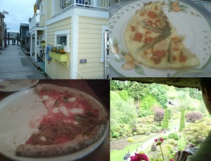 Victoria! Clockwise: House Boats, Omelet (from Villa Macro Polo), Buchart Gardens, Pizza from Pizzeria Prima Strada.