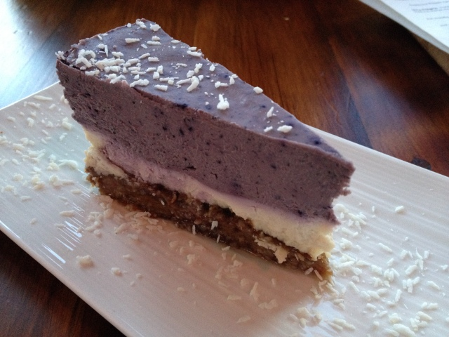 A healthy dessert? Lemon blueberry nut-cheese cake... it was very delicious
