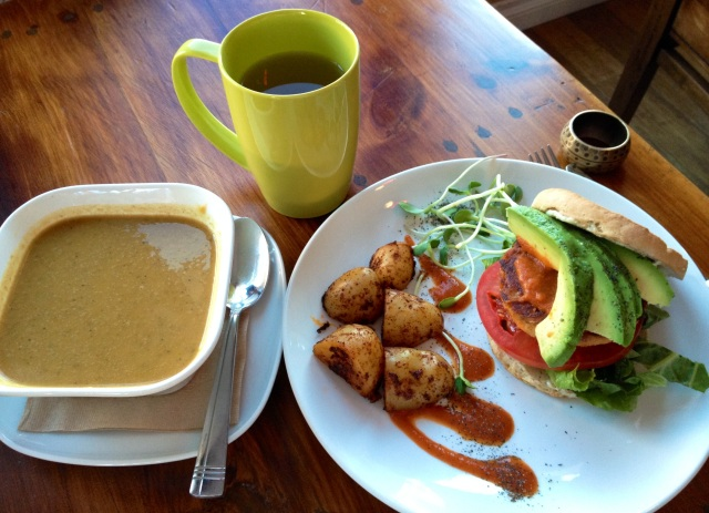 A very tasty meal: the sweet potato cream of broccoli soup was fabulous and the avocado's on the chick pea burger were lovely.