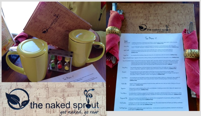 "A lovely tea menu at the naked sprout, plus a very cute ""perfect tea"" timer comes to your table as well."