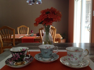 On the left is the Royal Albert, fireweed provincial flower, a Gainsborough shaped tea cup